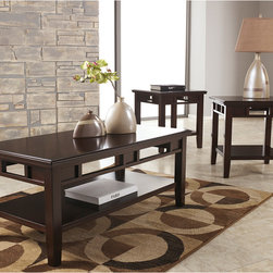 Signature by Ashley - Logan 3 Piece Occasional Table Set - Metro Modern Design. Beveled Table Top. Pierced Apron Design. Open Storage. Constructed of Select Veneers and Hardwood Solids. Dark Brown Finish. 2 End Tables: 23.625 in. W x 23.625 in. D x 25 in. H. Shelf: 19.5 in. W x 19.5 in. D x 1.5 in. H. Bottom Shelf to Apron: 12.5 in. H. Cocktail Table: 47.75 in. W x 23.625 in. D x 20.0625 in. H. Shelf: 43.5 in. W x 19.5 in. D x 1.5 in. H. Bottom Shelf to Apron: 7.625 in. H.