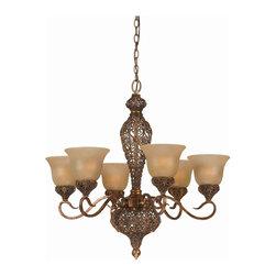 Triarch International - Triarch 39643 Crown Jewel Antiqued Gold Leaf 6 Light Chandelier - Triarch 39643 Crown Jewel Antiqued Gold Leaf 6 Light Chandelier