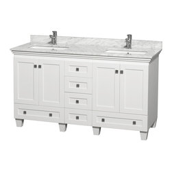 "Wyndham Collection - 60"" Acclaim Double Vanity w/ White Carrera Marble Top, Square Sink, No Mirror - Sublimely linking traditional and modern design aesthetics, and part of the exclusive Wyndham Collection Designer Series by Christopher Grubb, the Acclaim Vanity is at home in almost every bathroom decor. This solid oak vanity blends the simple lines of traditional design with modern elements like beautiful overmount sinks and brushed chrome hardware, resulting in a timeless piece of bathroom furniture. The Acclaim comes with a White Carrera or Ivory marble counter, a choice of sinks, and matching mirrors. Featuring soft close door hinges and drawer glides, you'll never hear a noisy door again! Meticulously finished with brushed chrome hardware, the attention to detail on this beautiful vanity is second to none and is sure to be envy of your friends and neighbors"