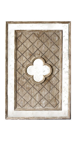Kathy Kuo Home - Fleur French Country Lattice Distressed Antique Wood Mirror - This rustic French country mirror easily doubles as a piece of antique art. A beautiful fleur shaped mirror sits in the center of a distressed wooden lattice bed, which in turn is highlighted by a glowing antiqued mirrored frame. This mirror would work beautifully in the entryway to your industrial loft, or as a striking focal point within your living room.