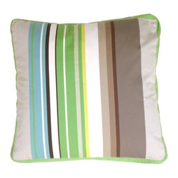 Pillow Decor - Pillow Decor - Green Apple & Gray Stripes Throw Pillow - Chic stripes demand your attention! Multicolored stripes of varied widths on cotton with a Granny Smith apple green linen box edge. This pillow plays well with others, especially its cousin in grape and gray. It will wow you with its style and perfect details.