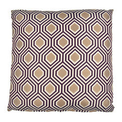 Designer Fluff - 5 Pointz Eggplant Pillow, 22x22 - Bring new dimension to your living space with this geometric-print throw pillow. The elegant fabric, in a distinctive gem-like eggplant hue, is durable and can punctuate a simple space. Show off the many sides to your style!