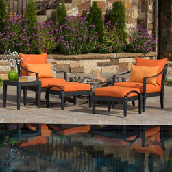RST Brands - RST Brands Astoria Club Chair and Ottoman Chat Set - OP-ALCLB5-AST-DEL-K - Shop for Chairs and Sofas from Hayneedle.com! Get ready to make some memories with the RST Outdoor Astoria Club Chair and Ottoman Chat Set. This versatile set is just right for kicking your feet up when it's just you and a friend or seating a couple more people on the ottomans when you're feeling extra social. Classic lines never go out of style and this set from award-winning designer Michael Burridge offers just enough distinctiveness to be uniquely yours. Diamond shaped finials accentuate the design which plays well with a range of decor themes. Durable cast aluminum frames are solidly built and treated to a powder coat finish in Charcoal with a lightly antiqued character. Sink into the thick cushions engineered with breathable mesh outer layers and constructed with fast complete drying in mind. Engineered for a life in the sun SolarFast outdoor fabric is solution dyed before it's woven so colors stay true and vibrant longer than other fabrics would under UV exposure. This set is also well adapted for salty or chlorinated conditions. Seating cushion covers are removable with RST Outdoor's patent pending Quick Change system so you can easily wash them and update the color and style when the time comes.5-piece set includes:2 club chairs2 ottomans1 Side tableAbout RST OutdoorSince 2004 RST Outdoor has designed and manufactured products in the outdoor living home decor and wall-based organizational products categories. They are a direct import product marketing company. RST Outdoor categories of focus include jewelry boxes men's gifts & furnishings and RTA furniture. Their team of marketing and design professionals can help identify market trends and deliver products that meet target retails with maximum perceived value. Their network of manufacturing partners and overseas production managers insure integrity in production and strict quality control.