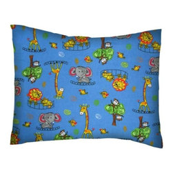 SheetWorld - SheetWorld Twin Pillow Case - Flannel Pillow Case - Jungle Adventure-Made in USA - Twin pillow shams. Made of an all cotton flannel fabric. Side opening. Features the cutest jungle adventure.