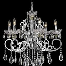Elegant Lighting - Elegant Lighting 2830D26C/EC Aria 6 Light Chandeliers in Chrome - 2830 Aria Collection Hanging Fixture D26in H24in Lt:6 Chrome Finish (Elegant Cut Crystals)