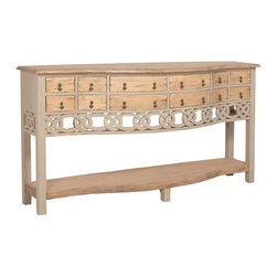 "Guildmaster - Hill Cottage Credenza by Guildmaster - With room for storage as well as display, the Hill Cottage Credenza offers plenty of creative appeal. The twelve drawers are appointed with antique pendant hardware. The soft palate and design mixes well with all woods and styles and will introduce an element of lightness to its space. (GM) 72"" wide x 36"" high x 18"" deep solid wood"