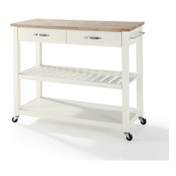 Crosley - Natural Wood Top Kitchen Cart/Island With Optional Stool Storage - Dimensions:   18 x 42 x 36 inches