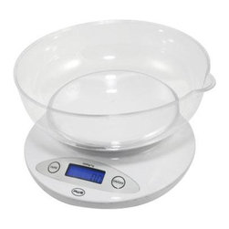 "American Weigh Scales - Bowl Kitchen Scale White - Bowl kitchen scale round plastic removable bowl for weighing loose ingredients or liquids included bowl dishwasher safe 11lb capacity 0.1 oz. graduation blue back-lit LCD display (0.5""x1.4"") bowl size 7.75"" x 7.75"" 2-AA batteries included white color"