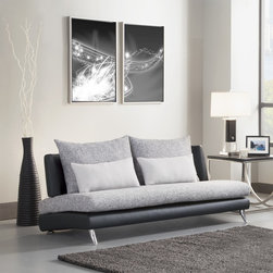 None - Khloe Sofa - Plunge right into the modern design camp, and go avant-garde with the Khloe contemporary upholstered sofa. This armless, low-slung sofa features a black vinyl body, gray tweed seat and back cushions, and two contrasting toss cushions.