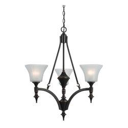 CAL Lighting - Cal Lighting FX-3541/3 3 Lights Rockwood Iron Chandelier With Glass Shade - CAL Lighting FX-3541/3 3 Lights rockwood iron chandelier with glass shade