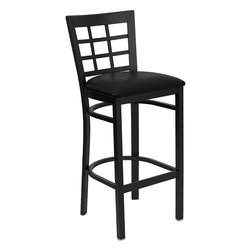 Flash Furniture - Flash Furniture Hercules Series Black Window Back Metal Restaurant Barstool - This heavy duty commercial metal bar stool is ideal for restaurants, hotels, bars, pool halls, lounges, and in the home. The lightweight design of the stool makes it easy to move around. The tubular foot rest not only supports your feet, but acts as an additional reinforcement that helps secure the legs. This stool will keep you comfortable with the easy to clean vinyl upholstered seat. You will not regret the purchase of this bar stool that is sure to complement any environment to fill the void in your decor. [XU-DG6R7BWIN-BAR-BLKV-GG]