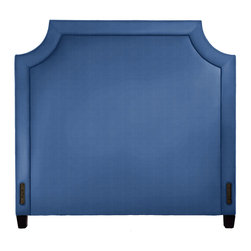 Luisa King Headboard, Jewel Cobalt - The Luisa headboard is superb for adding drama to the bedroom. Each piece is custom made in the USA from domestic hardwoods and features self-welting and tapered legs.