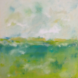 Linda Donohue - Colorful Abstract Landscape Original Painting - Spring Greens 24 x 24 - This is an original acrylic painting on gallery wrapped canvas. The sides are painted to match the front and it's ready to hang as it is or be put into a frame. It measures 24 x 24 x 1 1/2.