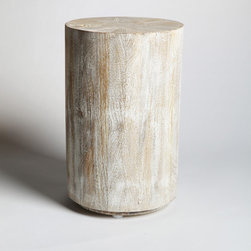 Studio A Driftwood Drum Table - The Driftwood Drum Table is a fine representative of the Studio A collection of gallery-quality organic home accents with its subtle sun-aged hues, masterful carpentry, and hint of natural origins.  This small accent table looks sophisticated at the end of a structured sofa or offers an inviting centerpiece to a conversation setting.  For a more finished look, match it with the removable Driftwood Round Topper Tray, available separately.