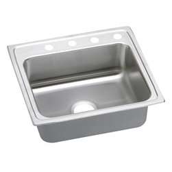 """Elkay - Elkay LRAD2521653  Lustertone Single-Bowl Sink - Elkay's LRAD2521653 is a Lustertone Single-Bowl Sink. This sink is constructed of 18-gauge type 304 nickel-bearing stainless steel, and is self-rimming. It features a bowl depth of 6-1/2"""" and a three-hole faucet mount."""