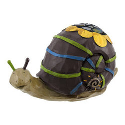 Whimsical Outdoor Snail Garden Accent Statue - This adorable accent is the perfect gift for your favorite gardener! It`s an adorable snail with a mirrored mosaic sunflower on its shell, made from cold cast resin. It measures 6 inches tall, 10 inches long, 5 inches wide, and is hand painted for a whimsical effect. This piece is sure to be admired, and looks great in flower beds, gardens, or on your porch or patio.