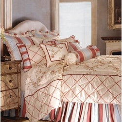 Jennifer Taylor Cornelia Comforter/Duvet Set - An elegantly blended palette of warm and cool colors gives the Jennifer Taylor Cornelia Comforter/Duvet Set its grace and charm. A delicate embroidered floral against soft cream faux silk is accented by a terra cotta and morning mist blue stripe and raised chenille lattice design. This handsome comforter set is available in several size options, each with coordinating pillow shams finished with refined trims you'll love.Additional Details10-piece set: 1 comforter/duvet: 110 x 96 inches1 bed skirt: 78 x 80 inches (18-inch depth)3 Euro shams: 26 x 26 inches2 kings shams: 21 x 37 inches3 décor pillows9-piece set: 1 comforter: 93 x 96 inches1 bed skirt: 60 x 80 inches (18-inch depth)2 Euro shams: 26 x 26 inches2 standard shams: 20 x 27 inches3 décor shams4-piece set: 1 comforter: 104 x 96 inches1 bed skirt: 60 x 80 inches (18-inch depth)2 king shams: 21 x 37 inchesAbout ACG Green Group, Inc.ACG Green Group is a home furnishing company based in Irvine, California and is a proud industry partner with the American Society of Interior Designers. ACG Green features Jennifer Taylor and Sandy Wilson, their exclusive home décor lines. These two complete collections offer designer home furniture, bedding sets, dining linens, curtains, pillows, and more in classic silhouettes, original designs, and rich colors to complement your home and life.