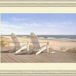 Amanti Art - Point East Framed Print by Daniel Pollera - Inspired by the styles of Hopper, Homer and Wyeth, Daniel Pollera's work evokes tranquility and solitude. Living by the coastal landscapes that he paints, Pollera brings an almost photographic realism to his beach scenes.