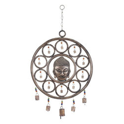 Benzara - Buddha Wind Chime with Mix of Spirituality - Introduce spirituality and calmness into your hectic and busy lifestyle with this Metal Wind Chime with Buddha. This unique and mystical wind chime features Gautam Buddha at the centre. It will facilitate paving your own path to an enlightened life by finding inspiration in this rustic wind chime that features a hypnotic concentric circle design with bells inside each circle linked by colorful beads. Hang this wind chime up using the strong and durable link and chain design and feel the pleasant positive energy emanating from it. It will take you closer to Nirvana. The tinkling of the bells on this wind chime is sure to steer you back onto your way to enlightenment, when you veer off towards materialistic pursuits. This wind chime is made from metal that is resistant to rust and strong, making it a valuable addition to your home decor..