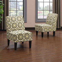 PORTFOLIO - Portfolio Wylie Armless Chairs in a Green Pinwheel Print (Set of 2) - The Portfolio Wylie set of 2 armless chairs features upholstery in a beautiful green pinwheel print fabric. Sold as a set of 2,these chairs are designed with a slightly contoured square back and thick deep seat foam cushioning for extraordinary comfort.