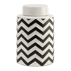 iMax - Chevron Small Canister with Lid - The most popular twist on stripes covers this small lidded canister that looks great in a variety of spaces.