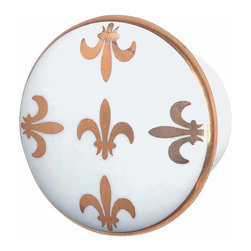 Renovators Supply - Cabinet Knobs White Porcelain 1 1/2'' Fleur De Lis Cabinet Knob | 23411 - This knob will add elegance to any piece it adorns. Beautiful Fleur De Lis design makes this knob a classic. It has a 1 1/2 in. diameter and projects 1 7/8 in.