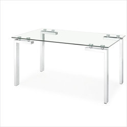ZUO - Zuo Roca Casual Dining Table with Glass Top - Stunningly architectural, this sleek dining table is every minimalist design lover's dream. Masterfully crafted from clear tempered glass, the rectangular top is supported by durable chromed steel tube legs. This ultramodern table will work amazingly well as your contemporary dining table, or as a large workspace in your home office.