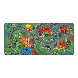"""Learning Carpets - Learning Carpets Indoor Outdoor Playmat Farm - LC116 36"""" x 79"""" - Take to the country and experience life down on the farm: there are horses and sheep in the pasture, apple trees in the orchard, chickens in the coop, bunnies in the hutch, and a tractor and donkey in the barnyard. Ages 2 to 6 Years. Unlimited Warranty. Soil And Stain Resistant Washable Carpet. Durable Latex Gel Skid-Proof Backing. 100% Nylon Carpet. Meets All ASTM F963 Safety Standards. Indoor/Outdoor Usage. Able To Withstand Rugged Wear. Highest Inflammability Rating In The Industry. Award-Winning."""
