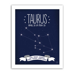 Taurus Constellation Print, 8x10 - Taurus traits featured in the banner: Loyal • Patient • Generous • Strong • Outgoing • Warm Hearted.