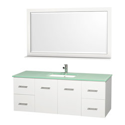 "Wyndham Collection - Wyndham Collection 60"" Centra White Single Vanity w/ Square Porcelain Sink - Simplicity and elegance combine in the perfect lines of the Centra vanity by the Wyndham Collection. If cutting-edge contemporary design is your style then the Centra vanity is for you - modern, chic and built to last a lifetime. Available with green glass, or pure white man-made stone counters, and featuring soft close door hinges and drawer glides, you'll never hear a noisy door again! The Centra comes with porcelain sinks and matching mirrors. Meticulously finished with brushed chrome hardware, the attention to detail on this beautiful vanity is second to none."