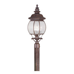 "Livex Lighting - Livex Lighting 7909 Frontenac 27.5 Inch Tall Post Light - Livex Lighting 7909 Frontenac Four Light Outdoor Post LightShowcasing a regal style, the Frontenac single light 27.5"" tall post light features intricate scroll work, a tall decorative finial, and beautiful seeded glass that will enhance the appeal of the outside of your home.Livex Lighting 7909 Features:"