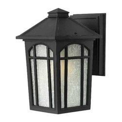 Hinkley - Hinkley 1980BK Cedar Hill Small 1 Light Incandescent Outdoor Wall Sconce in Blac - Cedar Hill is a traditional outdoor lantern in durable die cast aluminum construction with medium base lamping. This four-sided soft taper design features linen glass behind arched window pane panels.One 75w Medium Base BulbADA Compliant: No Backplate Height: 6 Backplate Width: 4-1 2 Bulb Base: Medium Bulb Type: Incandescent Collection: Cedar Hill Dark Sky: No Energy Star Compliant: No Extension: 6-3 4 Finish: Black Glass: White Linen Glass Height: 9-1 4 Material: Aluminum Number of Lights: 1 Outdoor Listed: Yes Safety Rating: c-UL-us Wet Socket 1 Base: Medium Socket 1 Max Wattage: 75 TTO: 4-1 2 Voltage: 120 Wattage: 75 Weight: 3 Width: 5-3 4