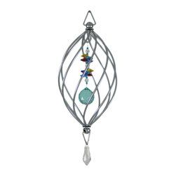Zeckos - 8 Inch Teardrop Crystal Spiral Wind Spinner Swarovski - This beautiful teardrop shaped chrome plated spiral wind spinner lends a great accent to your porch or patio decor. Measuring 8 inches long, 4 1/2 inches in diameter, the spinner features a 30mm faceted crystal bead, which hangs from a 3 inch long string of multicolored Swarovski faceted beads, creating a wonderful glittery show of colored light on sunny days. The bottom of the spiral features a hanging clear Swarovski crystal that grabs available light and draws your eye to this stunning spinner. It looks great spinning on it's own, or use a battery powered patio spinner motor.