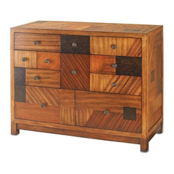 "Currey & Company - De Stijl Chest - From the Dutch word meaning Style, the De Stijl Chest is a gorgeous patchwork of several choice veneers ranging from light blonde to deep purple and even striped varieties while simple and elegant brass hardware is used for the drawer pulls. The materials used on this piece join harmoniously and achieve a luxurious impression. Wood is ""living"" and changes in temperature can result in cracking. We recommend placing the piece a minimum of three feet from any heat source. For everyday care, dust with a clean dry cloth. Wipe spills immediately with soft dry cloth. Always use coasters or mats. Never place cups, glasses or anything hot directly on the surface. This could cause discoloration."