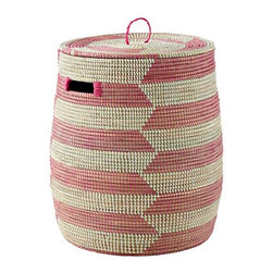 Charming Hamper, Pink Herringbone - Whether you use these as actual clothes hampers or as toy or blanket storage, they'll add a fun and funky touch to the nursery.