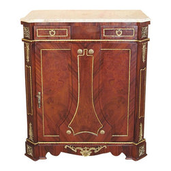 French Burl Mahogany Buffet Sideboard Server Cabinet w/ Marbletop - This is a gorgeous French style burl mahogany buffet sideboard. It has a beautiful removable marble top that has shaped front corners and beveled edge. It features 2 drawers on top with dovetail joinery and there is a spacious cabinet that has 2 shelves, 1 that is removable. This commode is beautifully embellished with fancy ormolu accents with foliage designs including the door, sides and drawers which have lovely handles. The door has a lock mechanism with 1 key, and it has a shaped skirt with a gorgeous ormolu mount. The marble may have been repaired and it has some veins and imperfections but as shows they are not distracting at all. It is a beautiful piece that will make a lovely addition to any room.