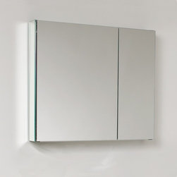 """Fresca - Medium Bathroom Medicine Cabinet w Mirrors - Recessed Mounting Option. Product Material: Glass. Finish: Mirror. 2 Glass Shelves. 2 Mirrored Doors. 29.5 in. W x 26 in. H x 5 in. DThis 30"""" medicine cabinet features mirrors everywhere. The edges have mirrors and also on the interior of the medicine cabinet. The inside features two tempered glass shelves. Can be wall mounted or recessed into the wall."""