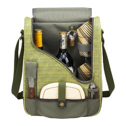 Picnic at Ascot - Two Bottle Wine and Cheese Cooler With Glasses, Olive/Tweed - Features: