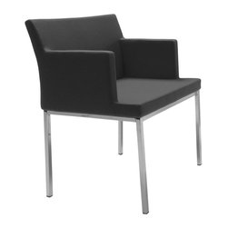 """sohoConcept - Soho Chrome Chair (Dark Grey Wool Fabric) - Fabric: Dark Grey Wool FabricA classy arm chair with a comfortable upholstered seat. Backrest on chromed steel legs which are plastic tipped. Seat has a steel structure with """"S"""" shape springs for extra flexibility and strength. Steel frame molded by injecting polyurethane foam. Seat is upholstered with a removable velcro enclosed leather, PPM or wool fabric slip cover. Suitable for both residential and commercial use. Pictured in Black Leatherette. 21.5 in. D x 22 in. W x 31 in. H, Seat Height: 18 in.. Arm Height: 24 in."""
