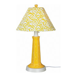 Patio Living Concepts - Patio Living Concepts Nantucket 35 Inch Table Lamp w/ Lemon Mimosa Base & Yellow - 35 Inch Table Lamp w/ Lemon Mimosa Base & Yellow Swirl Shade belongs to Nantucket Collection by Patio Living Concepts Distressed lemon mimosa resin lamp base highlights this stylish outdoor lamp. Two level dimming switch and 16' weatherproof cord and plug. Unbreakable polycarbonate waterproof bulb enclosure allows the use of a standard 100 watt light bulb. Lamp (1)