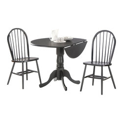 "International Concepts - International Concepts 3 Piece 42"" Round Dining Set in Black - International Concepts - Dinette Sets - K4642DPC2122 -"