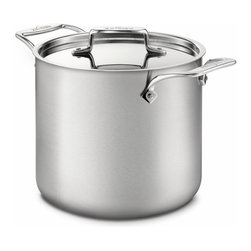 All-Clad - All-Clad d5 Brushed Stainless 7 Qt. Tall Stockpot w/Lid - An essential for any kitchen, the All-Clad D5 7-Quart Stockpot is ideal for making stock, soups, and stews and for preparing food in large quantities. The pot's wide bottom allows for sautéing ingredients before adding liquids. As with all cookware from All-Clad's D5 collection, this stockpot is constructed with bonded stainless steel for exceptional heating, especially in induction cooking. Its stick-resistant, 18/10 stainless steel interior and long, comfortable handle will make this an essential tool for your kitchen. For Stocks, Soups, and Stews This stock pot features a wide bottom surface, which conveniently allows you to sauté ingredients before adding liquids. The pot's size and design is also well-suited for canning, blanching, and preparing large meals. This 7-quart pot has two cast stainless steel handles and a lid for controlling evaporation. From All-Clad's D5 Brushed Stainless Steel Collection Cookware from the All-Clad D5 collection feature bonded five-ply construction with alternating layers of stainless steel and aluminum. This layered construction eliminates warping and enables even heating. And with 18/10 stainless steel interiors, D5 cookware is stick-resistant and non-reactive to food. Pieces from this collection feature brushed stainless steel exteriors that complement many kitchen styles. Compatible with a Range of Cooking Surfaces All D5 products are optimized for induction cooking, but provide perform well on all stove ranges, in the oven, or under the broiler. The pieces are also dishwasher safe for easy, convenient cleaning.