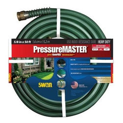 Swan Products - Swan Kink Free Heavy Duty Hose - Swan House SN7958050 5/8 in. x 50' Kink Free Garden Pressure Master Hose with Duraflow technology: an innovative non-vinyl resin technology that makes hose more flexible more durable and easier to handle.  Constructed with continuous flow ribs which prevent kinking.  Collar guard.  Solid brass couplings.  Scuff proof jacket.  Nickel-plated couplings.  Spring guard.  580 PSI.  Green