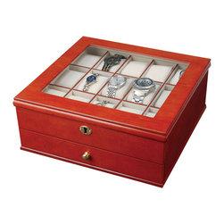 Mele Jewelry - Mele and Co. Chris Watch Box with Lock in Walnut - Mele Jewelry - Jewelry Boxes - 0067711