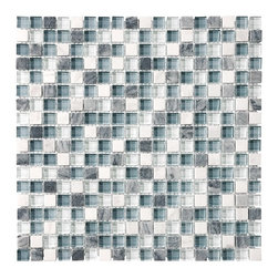 """Bliss Waterfall Stone and Glass Square Mosaic Tiles, 4"""" X 6"""" Sample - A nice poppy mix of light blue, gray, and white tile blend nicely with gray stone and white marble squares in this popular 5/8 x 5/8 glass mosaic tile. Waterfall is also available in a  random strip linear glass tile blend."""