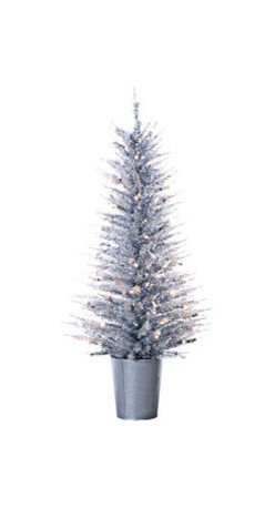 Silver Vogue Tinsel Christmas Tree - 4 ft. x 22 in. Artificial Christmas Tree