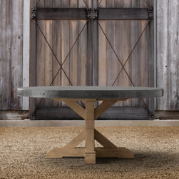 Concrete Round Dining Table - I like a round table for great conversation: everyone is included. Plus, this table will definitely withstand the elements, and it ages beautifully.