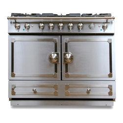 La Cornue CornuFé Stove, Stainless Steel - This is my dream stove for my dream country house! It is made by a French company, and besides being highly rated, it has amazing detailing on the front.