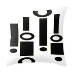 Crash Pad Designs - Modern Mid Century Inspired Accent Pillow, Black & White Mod Pillow - A fun pillow can change an entire room. Style your room with this mod & playful pillow. On a sofa, a chair, or bed it's sure to make you smile. Double sided print pillow, made from 100% spun polyester poplin fabric w/ a hidden zipper closure & a polyester fill insert. Original Crash Pad Designs fabric.