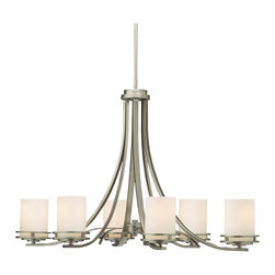 "Kichler - Contemporary Hendrik Nickel 36"" Wide 6-Light Oval Chandelier - Wake up a tired room with this contemporary six light chandelier. The clean and stylish design features a brushed nickel finish frame with satin-etched white glass. By Kichler. Takes six 100 watt bulbs (not included). 23"" high. 18"" deep. 36"" wide. 61"" max hang height.  Brushed nickel finish.   Satin-etched glass.  From the Kichler lighting collection.  Takes six 100 watt bulbs (not included).   36"" wide.   23"" high.   18"" deep.   61"" max hang height."